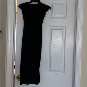 Black midi dress with high slit